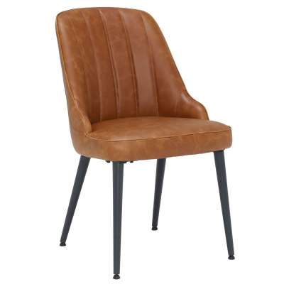 Striped Dining Chair - Brown - Leather - W48 x D59 x H81cm - Barker & Stonehouse