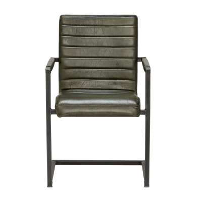 Brutus Striped Dining Chair - Black - Leather - W55 x D63 x H87cm - Barker & Stonehouse