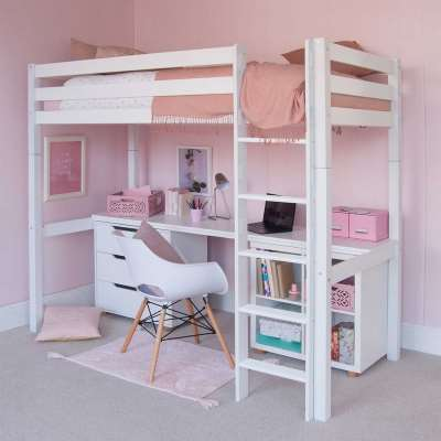 Buddy Childrens Beech Highsleeper Loft Bed With Full Length Desk, Storage Bookcase and Chest of Drawers