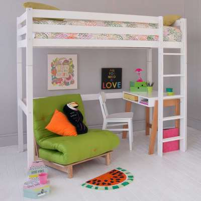 Buddy Childrens Beech Highsleeper Loft Bed With Desk, Storage Bookcase and Futon Chair Bed