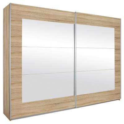 Sliding 2 Door Wardrobe With Large Mirrored Pannels - White / Light Brown - Barker & Stonehouse