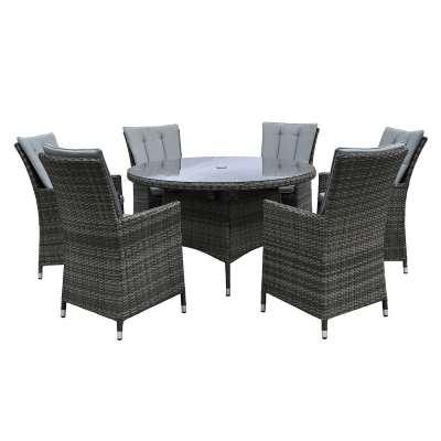 Cromer 6 Seat Round Garden Dining Set, Brown