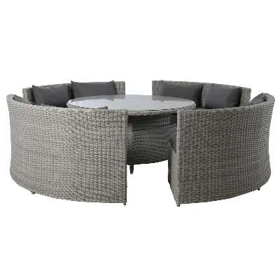 Didcot Round Garden Sofa Dining Set in Grey Weave and Grey Fabric