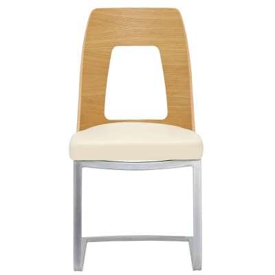 Ercol Romana Dining Chair - Cream - Oak - W47 x D52 x H90cm - Barker & Stonehouse