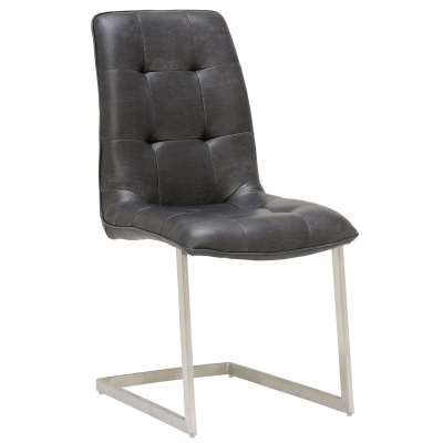 Ericka Buttoned Upholstered Dining Chair - Grey - Leather - W45.5 x D60.5 x H93.5cm - Barker & Stonehouse