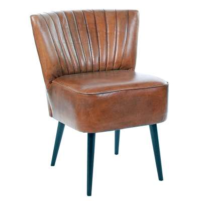 Etta Low Back Striped Vintage Leather Dining Chair - Brown - Leather - W61 x D67 x H70cm - Barker & Stonehouse