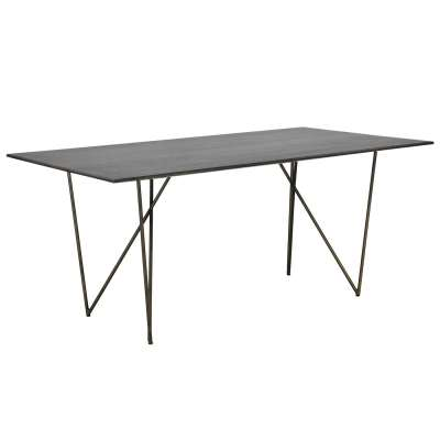 Facet Dining Table, Dark Mango Wood and Brass