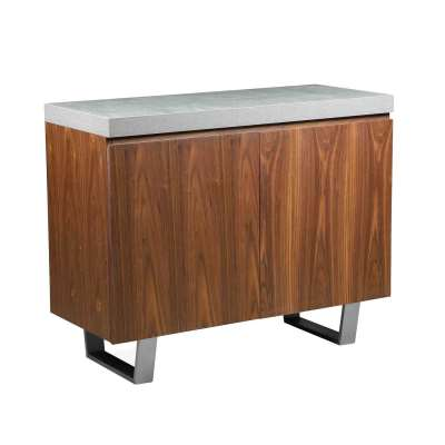 Halmstad, 2 Door Sideboard - Concrete and Walnut - W100 x D42 x H80cm - Barker and Stonehouse