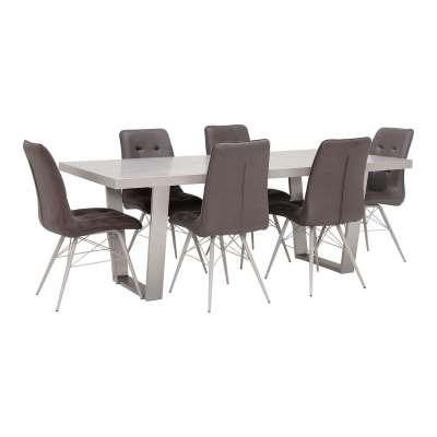 Dining Table With 6 Matching Hix Chairs - Grey - Barker & Stonehouse