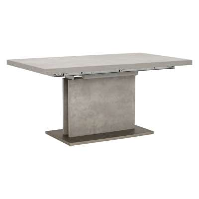 Concrete Effect Extending Dining Table With Stainless Steel Legs - W160-220 x D90 x H76cm - Barker & Stonehouse
