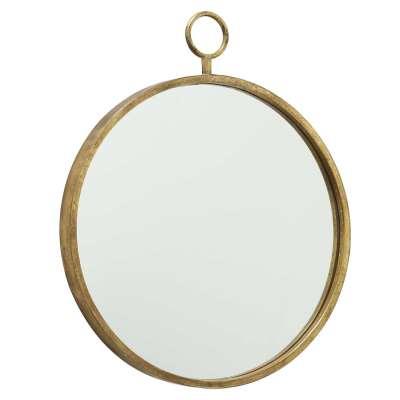 Hanging Gold Round Mirror