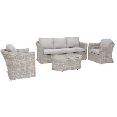 Hathaway Garden Sofa Set in Light Grey Weave and Grey Fabric