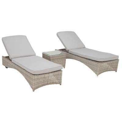 Hathaway Garden Sun Lounger Set in Light Grey Weave and Grey Fabric