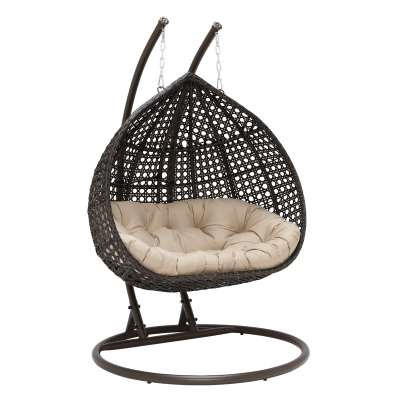 Willow Hanging Garden Chair in Brown Weave and Beige Fabric
