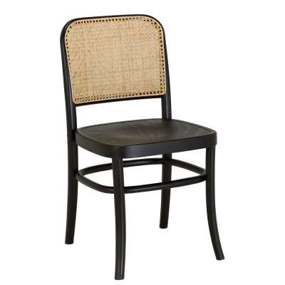 Black Wood Dining Chair With Rattan Back - Solid Beech - W44 x D49 x H89cm - Barker & Stonehouse