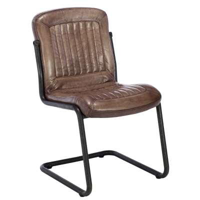 Irving Leather Dining Chair - Brown - Leather - Striped - W56 x D61 x H85cm - Barker & Stonehouse