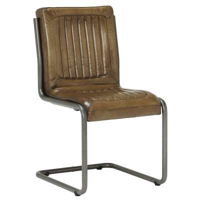 Jensen Buffalo Leather Dining Chair - Brown - Leather - Striped - W55 x D61 x H85cm - Barker & Stonehouse