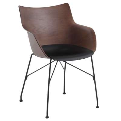 Kartell Smartwood Dining Chair with Arms - Brown - Wood - Plain - W55 x D57 x H84cm - Barker & Stonehouse