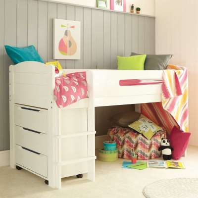 Kenzie Childrens Midsleeper with Chest Of Drawers