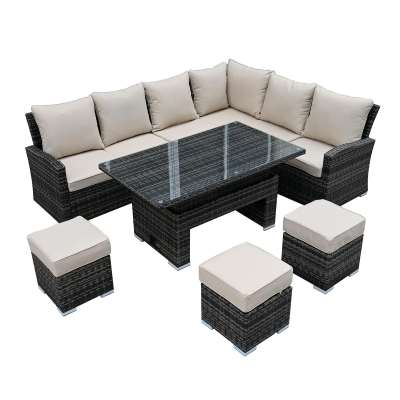 Kersey Corner Garden Dining Set With Rising Table in Brown Weave and Beige Fabric