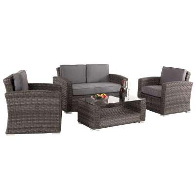 Amberley Garden Sofa Set in Grey Weave and Grey Fabric