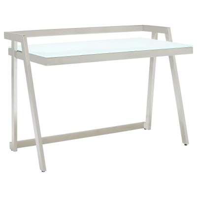 Luka Glass And Metal Desk, White