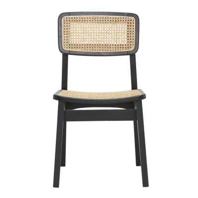 Malin Dining Chair Black Beech and Rattan