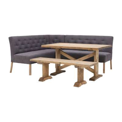 Left Hand Corner Dining Set With Table & Bench - Grey With Reclaimed Wood - Barker & Stonehouse