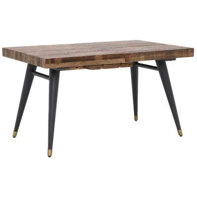Modi Wooden Extending Dining Table - Reclaimed Wood - Dark Brown/Matt Black Legs - W140-180 x D90 x H77.5cm - Barker & Stonehouse