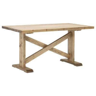 Newsham Reclaimed Wood Dining Table, Grey Waxed Finish