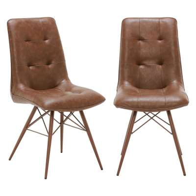 Pair of Hix Upholstered Dining Chairs - Brown - Leather - Buttoned - W45 x D62.5 x H94cm - Barker & Stonehouse