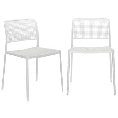 Pair of Kartell Audrey Dining Chairs with Arms - White - Aluminium  - Plain - W52 x D51 x H80cm - Barker & Stonehouse