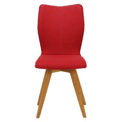 Poppy Retro Fabric Dining Chair - Red - Fabric - Plain - W50 x D53 x H90cm - Barker & Stonehouse