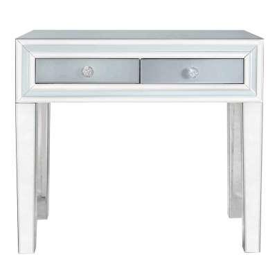 Quartz 2 Drawer Dressing Table, Grey Glass and Mirror