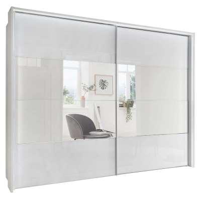 Riga 2 Door Sliding Wardrobe, White Glass and Mirror