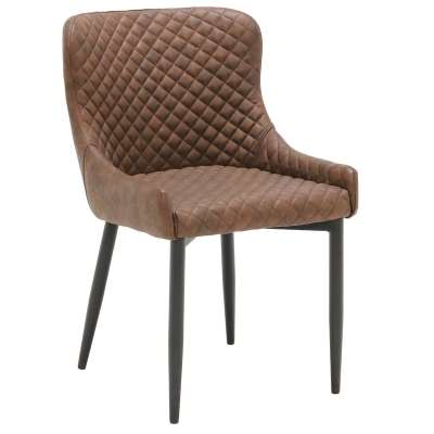 Upholstered Dining Armchair - Brown - Leather - Quilted - W51 x D60 x H82cm - Barker & Stonehouse