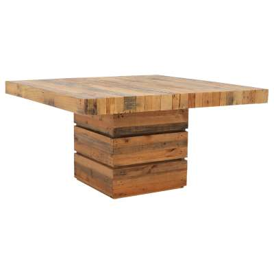 Unique Large Square Wooden Dining Table - Reclaimed Pine - W147.5 x D147.5 x H78cm - Barker & Stonehouse