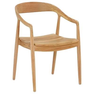 Semeru Teak Dining Chair with Arms - Brown - Teak - Plain - W55 x D58 x H78cm - Barker & Stonehouse