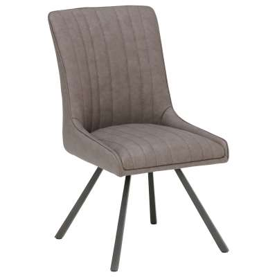 Strelley Dining Chair - Grey - Leather - Striped - W63.5 x D48.5 x H90cm - Barker & Stonehouse