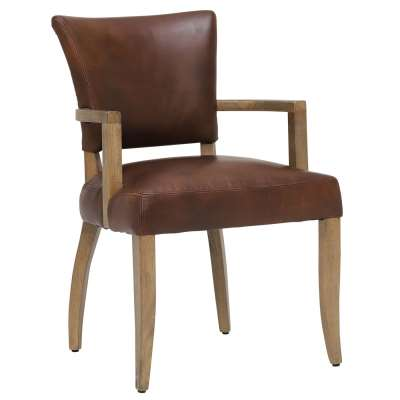 Timothy Oulton Mimi Dining Chair With Arms - Brown - Leather - Plain - W60 x D66 x H90cm - Barker & Stonehouse