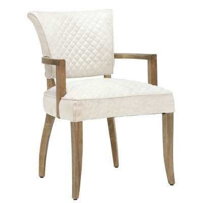 Timothy Oulton Mimi Dining Chair with Arms - Beige - Leather - Quilted - W60 x D66 x H90cm - Barker & Stonehouse