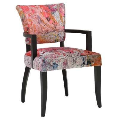 Timothy Oulton Mimi Faded and Degraded Dining Chair with Arms - Multiple - Velvet - Faded - W60 x D66 x H90cm - Barker & Stonehouse