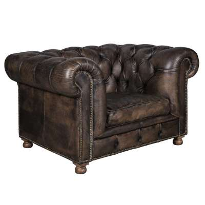 Timothy Oulton Westminster Feather 1 Seater Sofa, Vegabond Black Leather