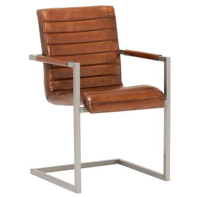 Brutus Striped Vintage Dining Chair - Brown - Leather - W55 x D63 x H87cm - Barker & Stonehouse
