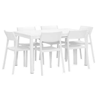 Varuna Extending Garden Dining Table and 6 Calisto Dining Chairs in Bi