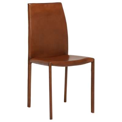Whinfell Leather Dining Chair - Brown - Leather - Plain - W44 x D55 x H92cm - Barker & Stonehouse