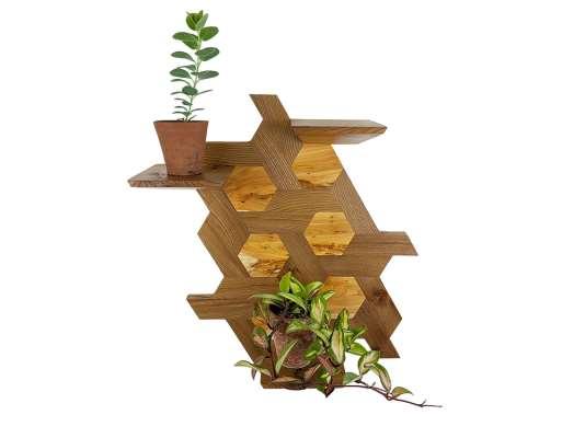 Hexagon Shelving  elm & yew