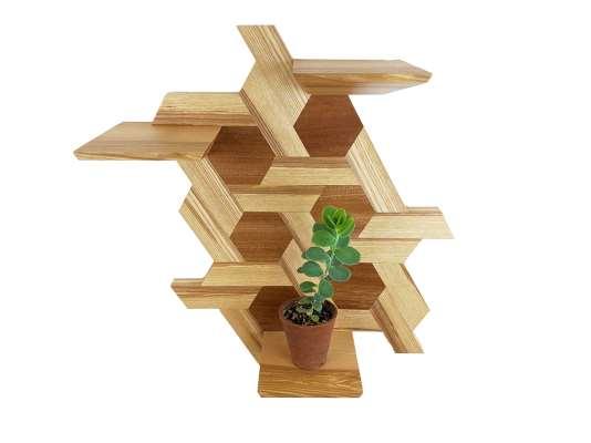 Hexagon Shelving ash & sapele