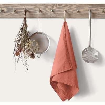 Apricot Washed Linen Tea Towel