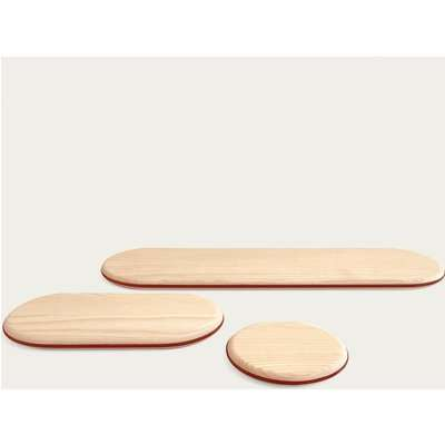 White Ash Floating Shelf - Leather Outline  Set I